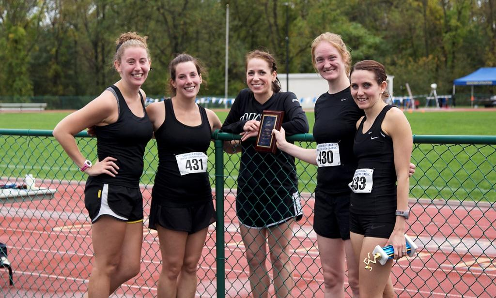 (L to R) Becky Foner '09, Emily Hunter Fertitta '05, Sarah Maffei Yoho '04, Fraley Coles '08, Marisa Long Gossweiller '07 competed October 12 in the annual Goucher Cross Country Classic 6K.