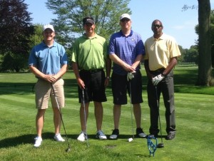 (L to R) Ben Veldman '10, Tom Rose '95, '00, Greg Permison, Percy Moore '95
