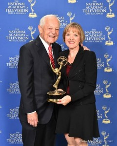 Bob Schieffer, anchor and moderator, with Kimberlee Van Newkirk Shaffir '83, producer, of CBS's Face the Nation.
