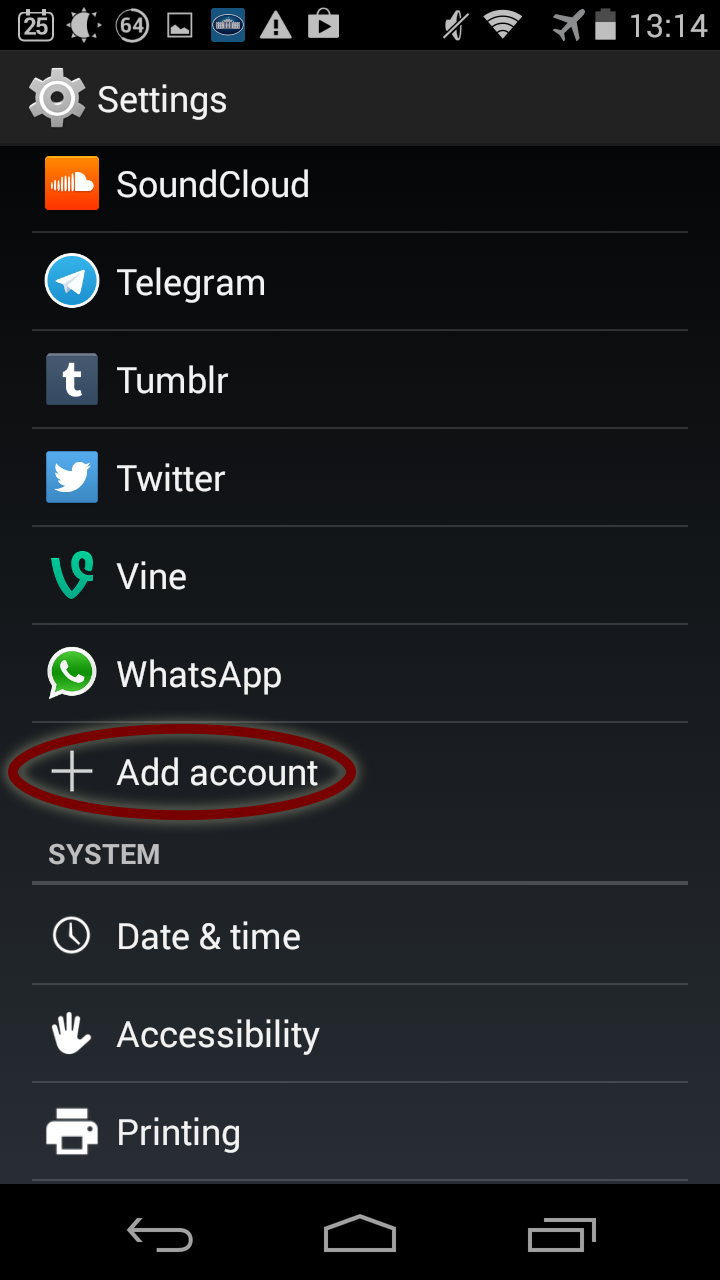 Select Add account.