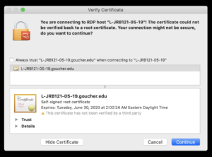 Certificate Warning on MacOS