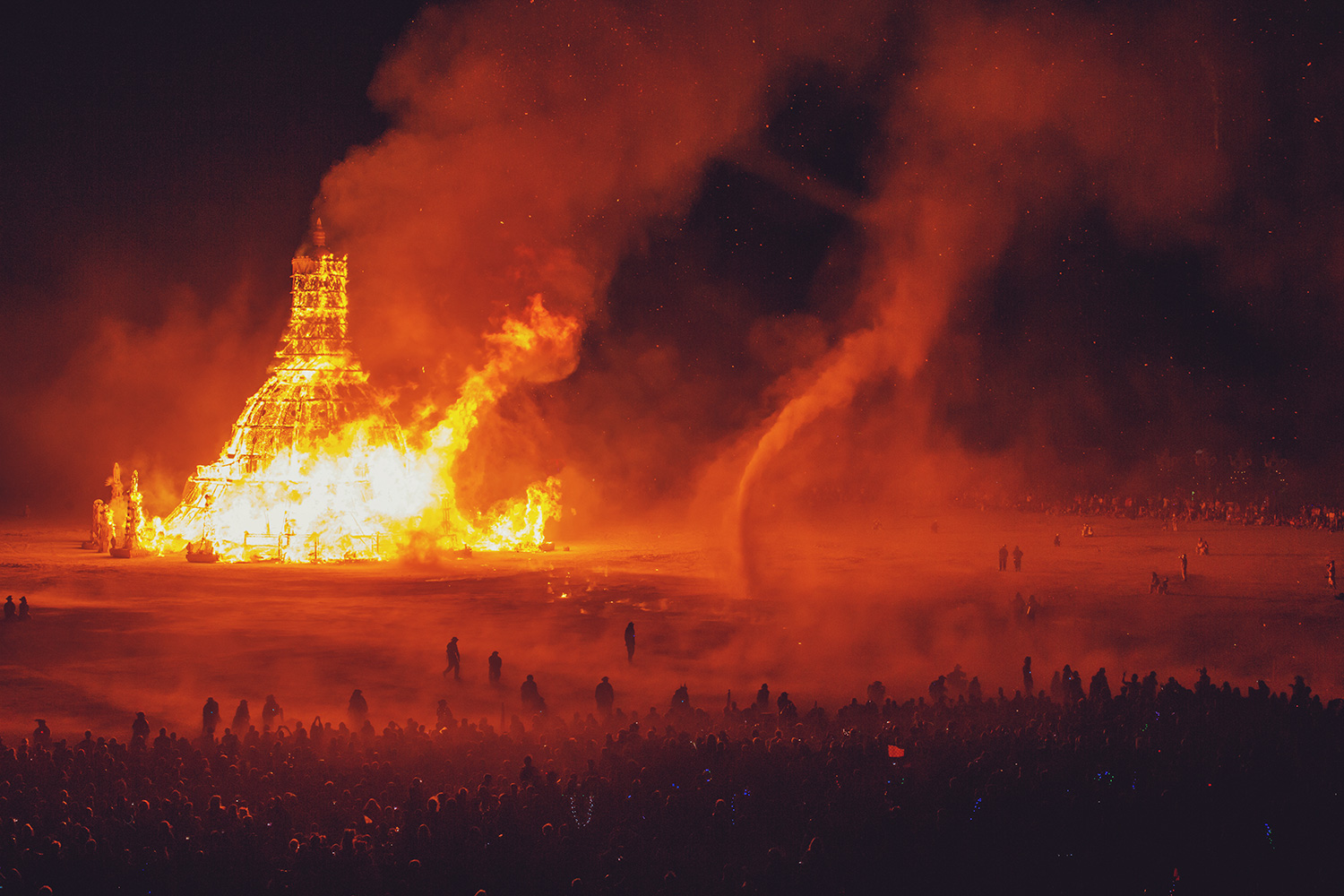 Temple on fire at Burning Man