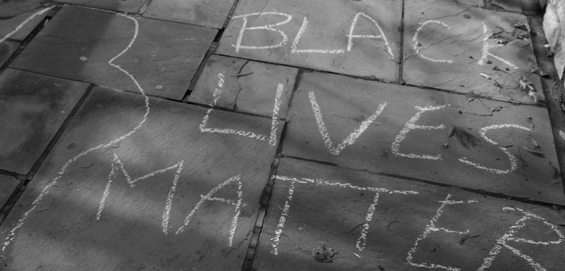 Black Lives Matter sidewalk chalk sign