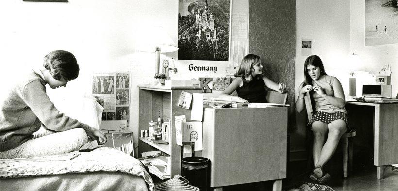Goucher dorm room in the 1960s